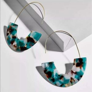 Multi color turquoise resin acrylic hoop earrings
